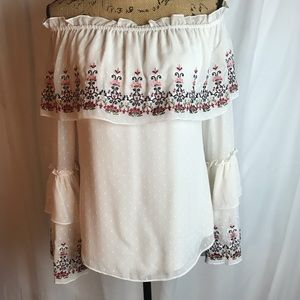 White House Black Market Embroidered Peasant Top